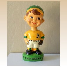 Vintage 1960's Baseball Bobblehead Advertising Chevy Dealers
