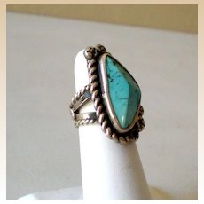 Striking Vintage American Indian Ring Silver & Turquoise