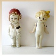 (2) Very Old Bisque Dolls 3&1/2 Inch