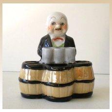 Vintage Figural Ceramic  Cigarette & Matches Holder