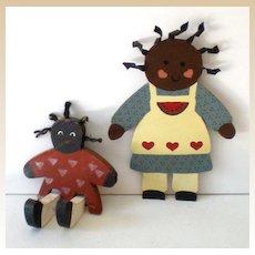 (2) Vintage 1980s Black Americana Figures Wood & Tin