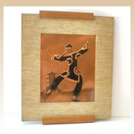 Signed Framed Hammered Copper Picture Asian Man *NICE*