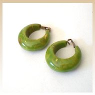 LARGE Green Marbled Bakelite Hoop Earrings