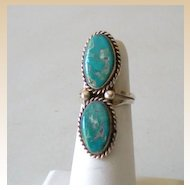 Gorgeous Vintage American Indian Ring Turquoise & Silver