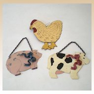 (3) Tin Animals For Your Country Kitchen Wall