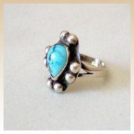 Vintage Silver & Turquoise Indian Ring