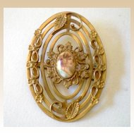 Large Gorgeous Victorian Portrait Brooch Signed