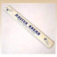 "Vintage Tin Advertising Ruler ""Master Bread"""