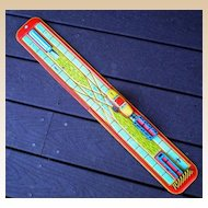 Tin Lithograph Track w/ Wind Up Train & Trailer 1950s
