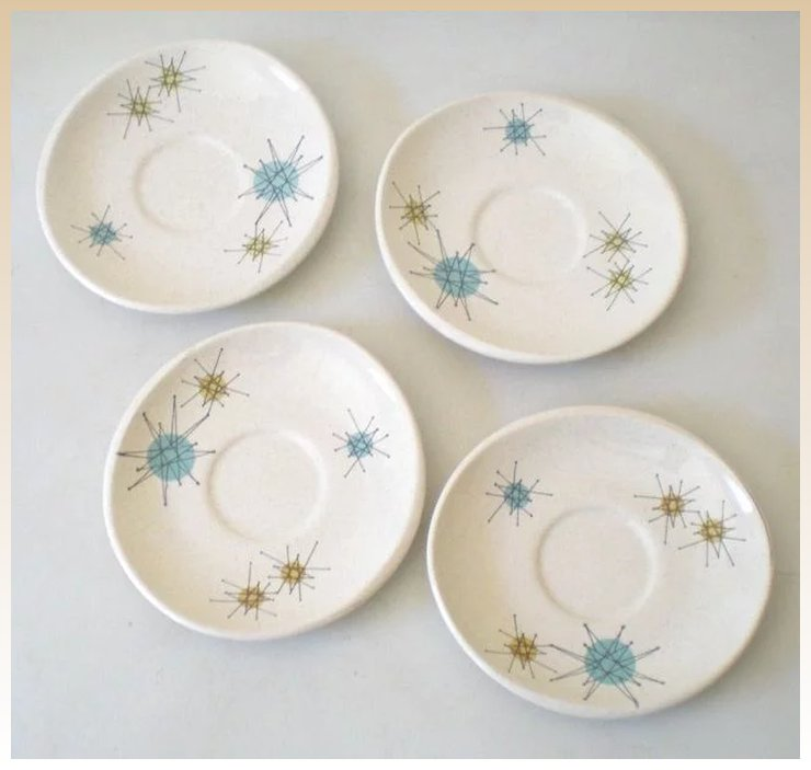 40s Atomic Franciscan Starburst Pattern Saucers California Girls Stunning Franciscan Ware Patterns
