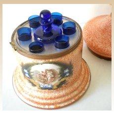 Antique Hand Painted Art Glass Liquor Cordial Set Cobalt Glasses