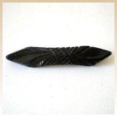 Deeply Carved Vintage BLACK Bakelite Brooch
