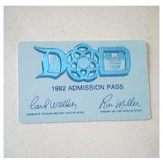 Scarce 1982 Disneyland Main Gate Pass