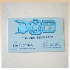 Scarce 1982 Disneyland Main Gate Pass
