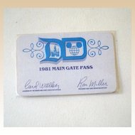1981 Disneyland Main Gate Pass
