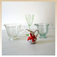 Group Of Old Glassware Creamers Including  Depression Glass