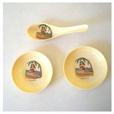 (3) Pieces Plastic Restaurantware Hawaii Hula Girl