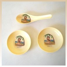 (3) Pieces Plastic Restaurantware Hawaii Hula Girl