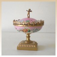 Gorgeous Lidded  Victorian Powder Box w/ Cherub
