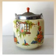 "Lovely Old Biscuit Jar ""Old Cottage Windows"" England"
