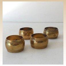 (4) Vintage Brass Napkin Rings