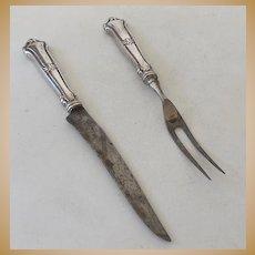 Vintage Sterling Silver Fork & Knife Carving Set