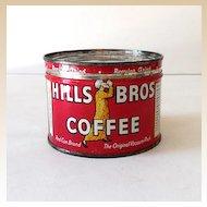 Scarce One Half Pound Coffee Tin Hills Brothers