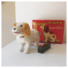 """Battery Operated """"Happy Puppy"""" Mint In Box Japan"""