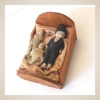 Old Bisque Doll Family In Hand Made Wood Bed