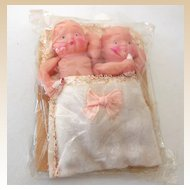 Twin Celluloid Baby Girl Dolls In Original Package