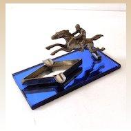 Fabulous Art Deco Metal Race Horse Ashtray