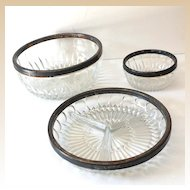(3) Vintage Cut Glass Bowls with Silver Plated Rims
