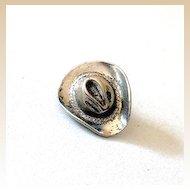 Vintage Cast Silver Metal Cowboy Hat Lapel Pin