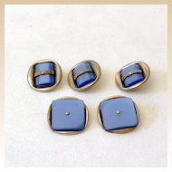 Vintage Button Set Silver and Pearlized Blue