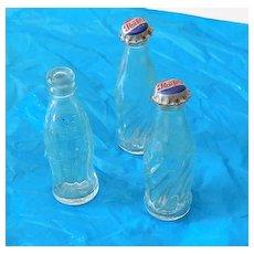 (3) Miniature Glass Soda Pop Bottles Coke Pepsi