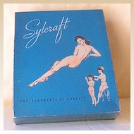 Vintage 1940's EMPTY Lingerie Box With Semi Nude Pin Up Girl