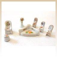 1930s Porcelain Dollhouse Living Room Set Japan