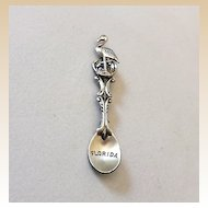 Sterling Silver Florida Spoon Brooch Flamingo