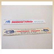 Pair Continental Trailways Advertising Rulers