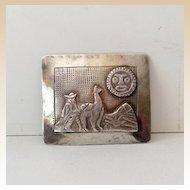 Vintage Signed Sterling Silver Brooch Peru