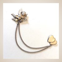 Vintage Coro Double Brooch Cupid & Hearts