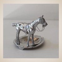 Chromed Metal Race Horse & Lucky Horseshoe Ashtray