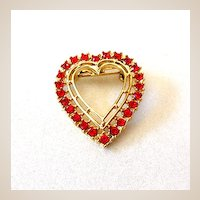 Vintage Red Rhinestones Heart Brooch Pin