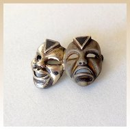 Sterling and Onyx Theatrical Masks Brooch