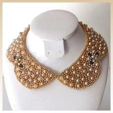 Vintage 1950s Faux Pearls Collar Japan