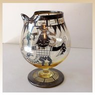 Art Deco Martini Pitcher Glass With Silver Overlay