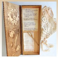 Victorian Glove or Hankie Wood Box w/ Contents