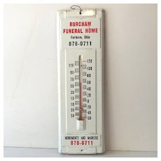 Vintage Tin Advertising Thermometer Funeral Home