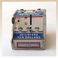 Vintage J Chein Tin Litho Dime Register Bank