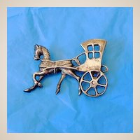 Heavy Vintage Silver Brooch Horse and Carriage
